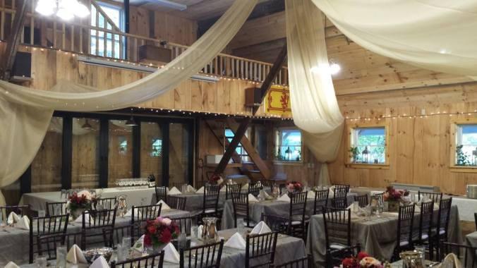 an autumn wedding, West Hill Inn, Warren, VT. Bose L1 speaker set up descretely in the loft_